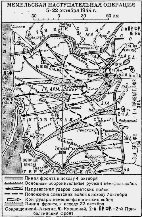 Карта-схема Мемельской операции.