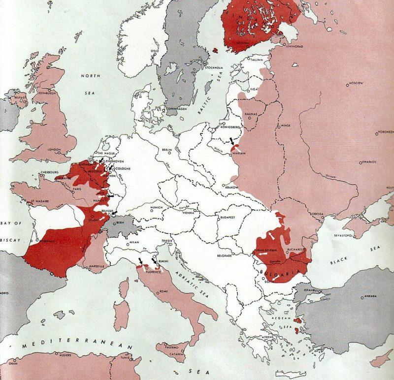 Положение Германии на Европейском театра военных действий по состоянию на 15 сентября 1944 г.