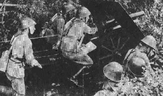 Японские солдаты у захваченного орудия.
