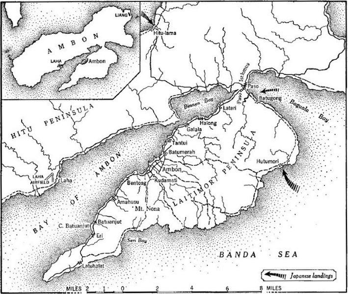 Карта сражения за Амбон.