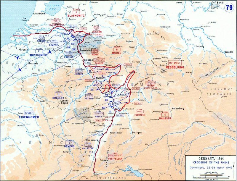 Карта-схема Рейнской операции.