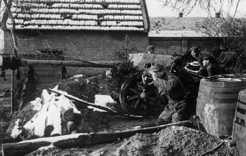 Немецкие войска в обороне Будапешта.