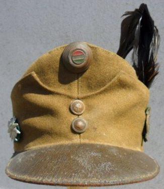 Кепи с перьями офицера горных стрелков образца 1943 года с кожаным козырьком.