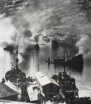 Пожар в порту Нарвика. Апрель 1940 г.