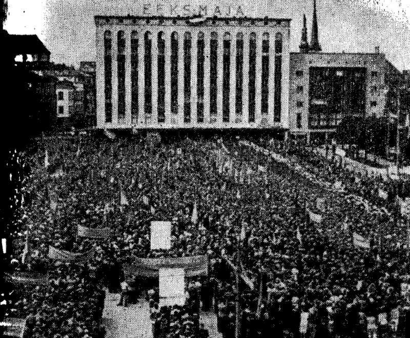 Митинг на площади Свободы с требованием присоединения Эстонии к СССР. 17 июля 1940 г.