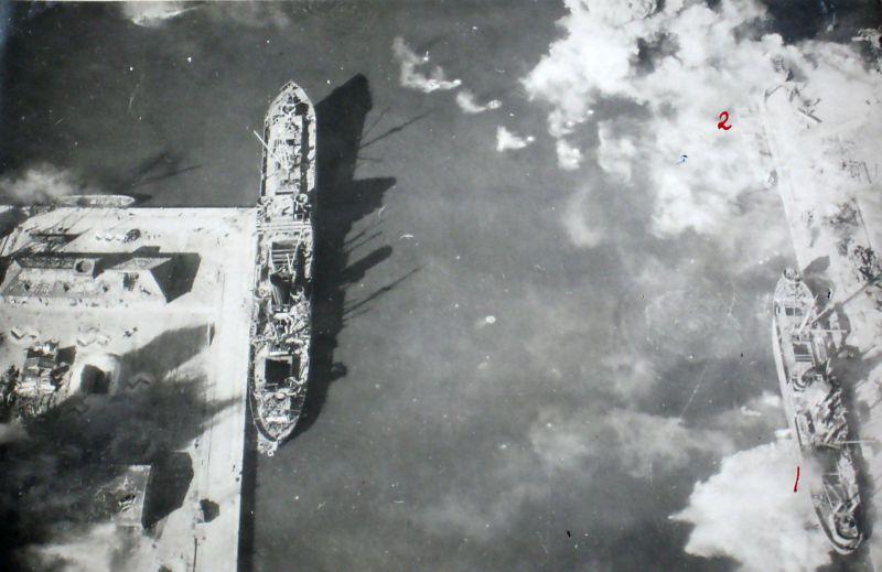 Фотоконтроль бомбардировки порта Пиллау. Апрель 1945 г.