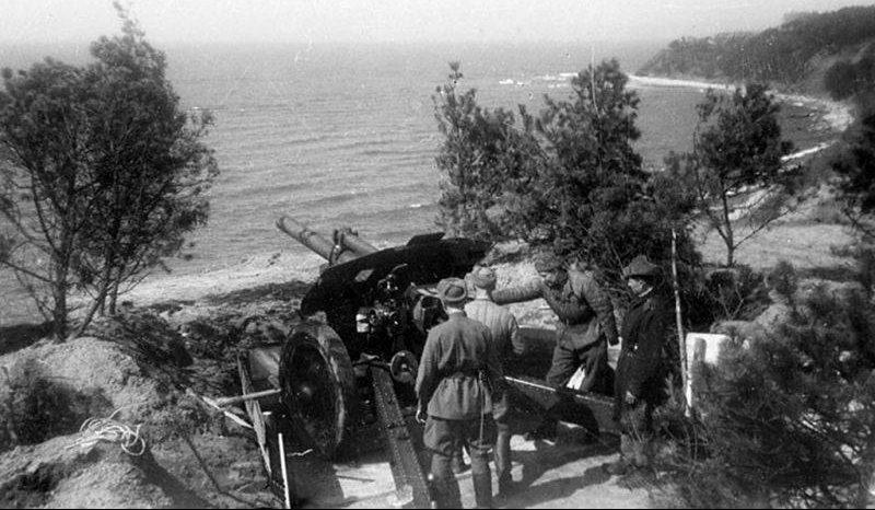 Артиллерийский расчет 11-й гвардейской армии ведет бой на косе Фриш Нерунг. Апрель 1945 г.