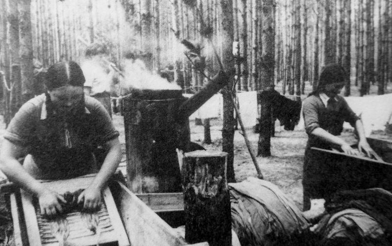 Полковая прачечная в лесу западнее Львова. 1944 г.