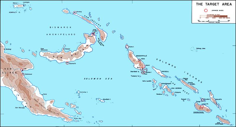 Соломоновы острова. Гуадалканал (внизу справа) расположен в юго-восточном части пролива «Слот», по которому шли корабли японского «Токийского экспресса».