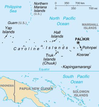 Карта Каролинских островов.