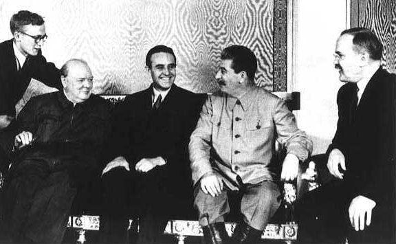 Черчилль, Гарриман, Сталин и Молотов. Октябрь 1944 г.