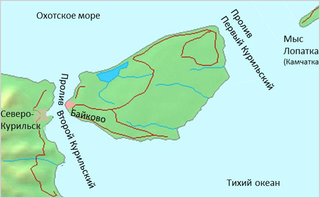 Остров Шумшу на карте: между мысом Лопатка и островом Парамушир.