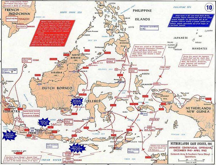 Боевые действия в Нидерландской Ост-Индии.