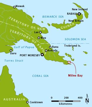 Расположение залива Милн на острове Новая Гвинея.