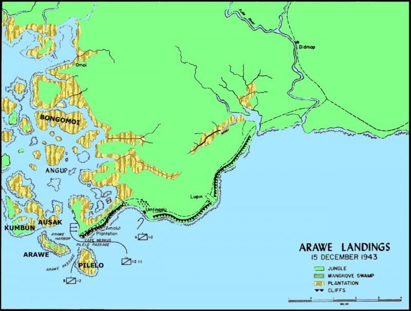 Карта области Араве в Новой Британии во время битвы при Араве в конце 1943 - начале 1944 года.