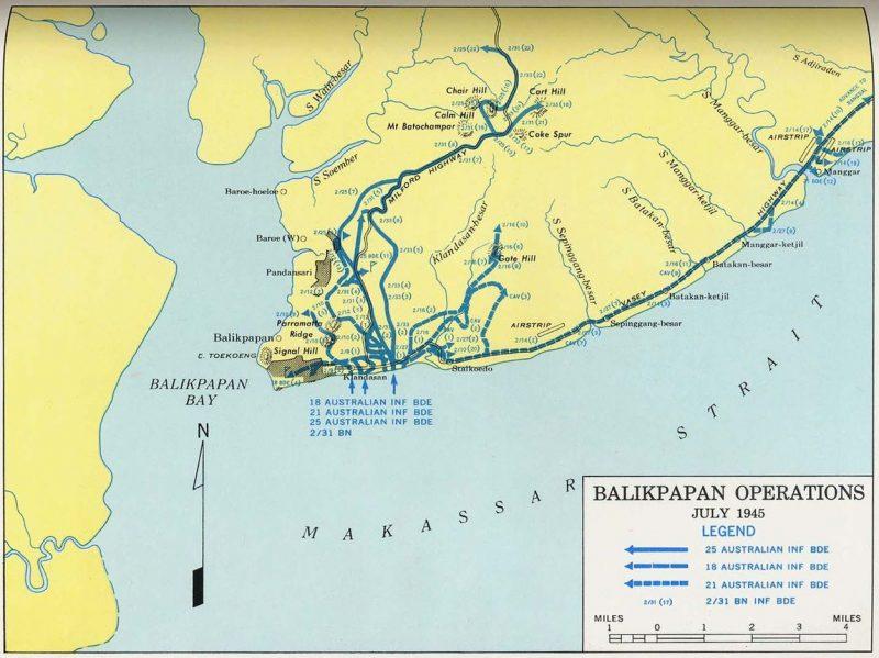 Карта-схема действий Союзников в сражении за Баликпапан.