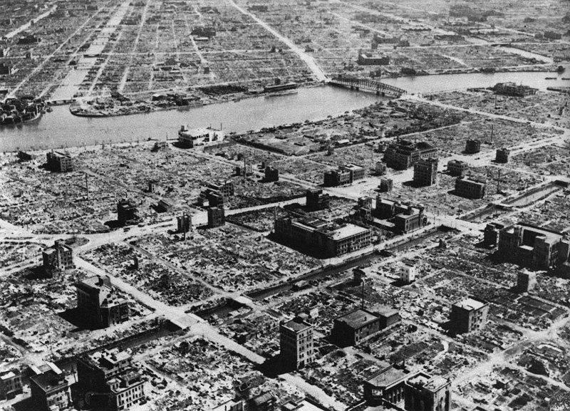 Уничтоженные жилые кварталы Токио.