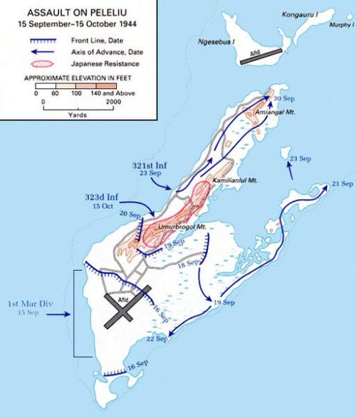 Карта-схема битвы за Пелелиу.