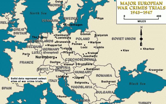 Карта стран, с указанием городов, где проходили процессы над военными преступниками, в 1943-1947 годах.