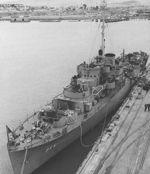 Патрульный фрегат «Hoquiam», переданный США Советскому Союзу в аренду по «Проекту Хула» в Колд Бей 16 августа 1945 г.