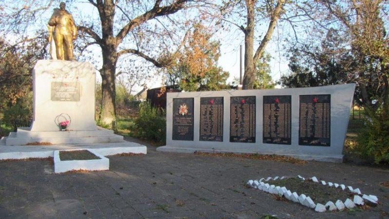 с. Новоданиловка Ореховского р-на. Памятник возле школы, установленный на братской могиле, в которой похоронено 5 советских воинов.