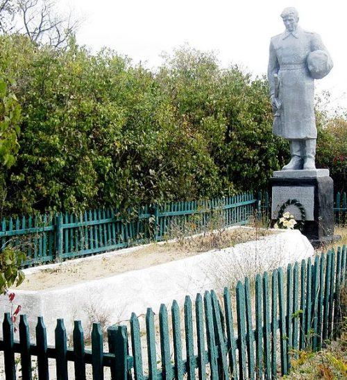 с. Новопавловка Ореховского р-на. Памятник на кладбище, установленный на братской могиле, в которой похоронено 250 советских воинов.