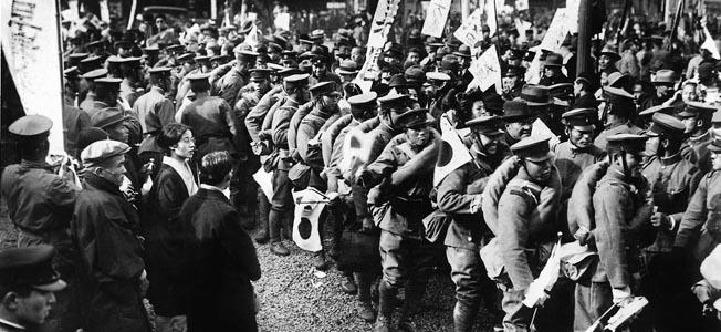 Отправление японских войск на Маньчжурский фронт для борьбы с советскими войсками. Август 1945 г.