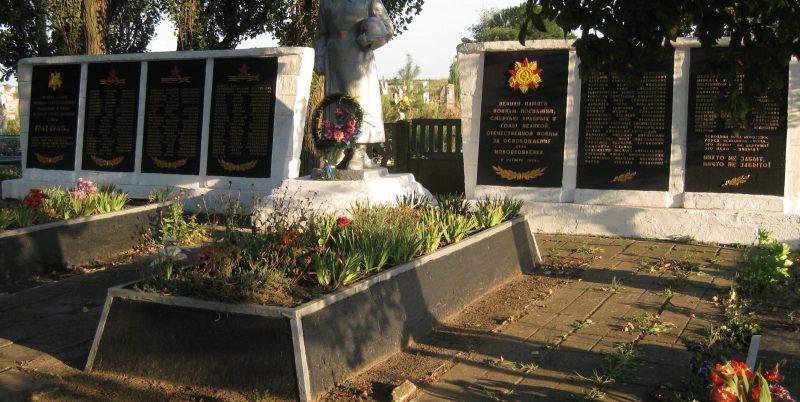 с. Новояковлевка Ореховского р-на. Памятник, установленный на братской могиле, в которой похоронено 37 советских воинов.