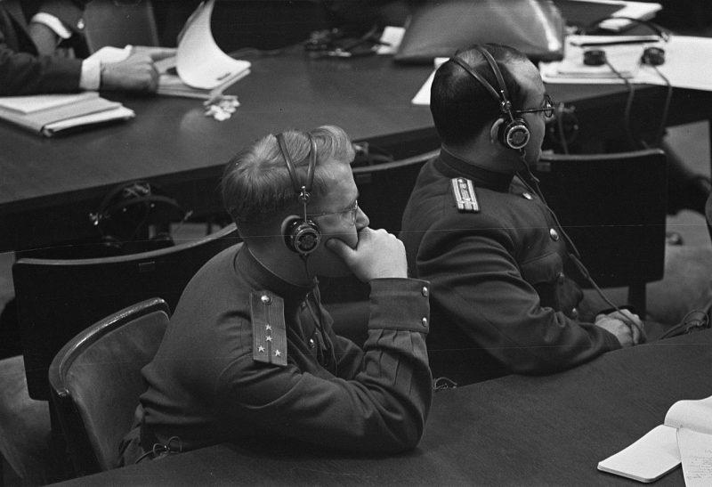 Члены советской делегации на Нюрнбергском процессе. 1945 г.