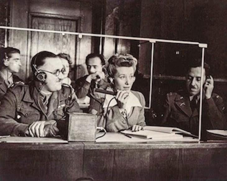Ложа синхронного перевода Международного военного трибунала. 1945 г.