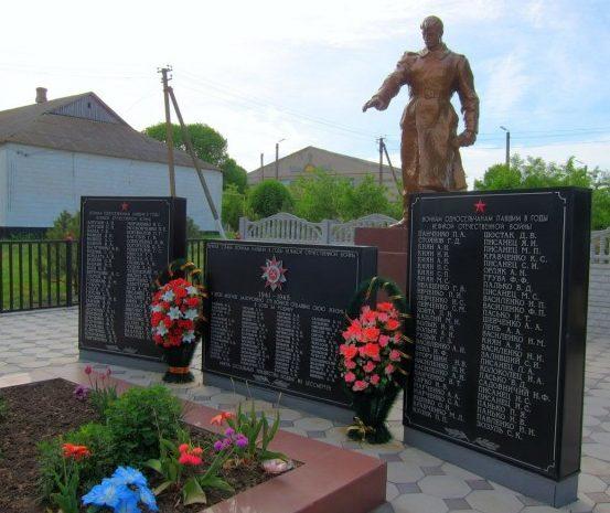 с. Долинское Бердянского Мемориал, установленный на братской могиле, в которой похоронено 370 советских воинов.