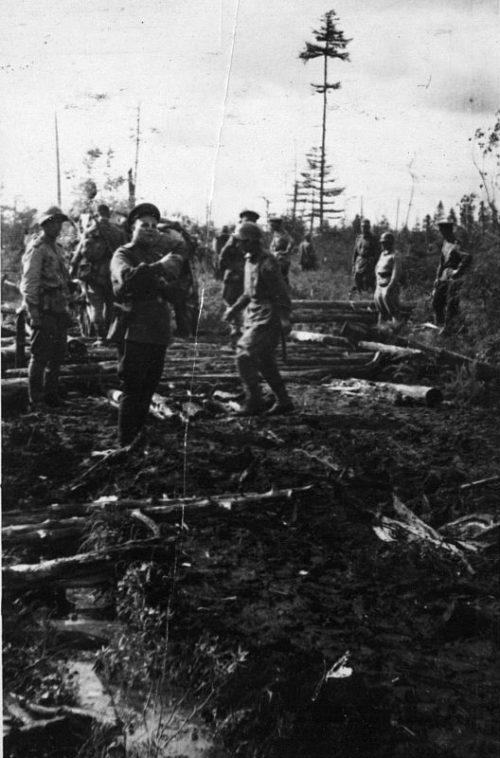 Прокладка колонного пути по Поронайской долине в период боя за Харамитогский укрепрайон. Август 1945 г.