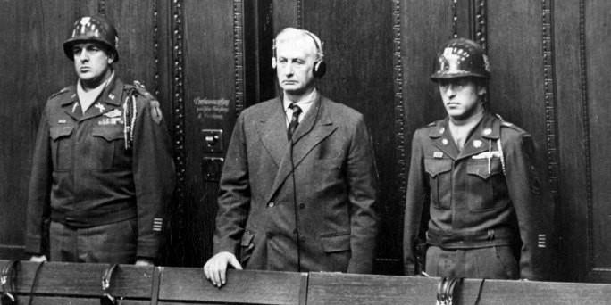 Фридрих Флик слушает приговор. 1947 г.