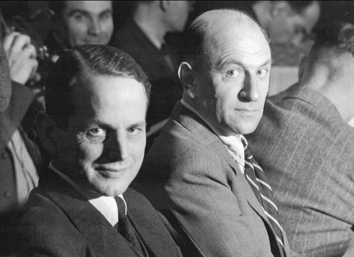 Подсудимые Отто Олендорф и Хайнц Йост во время Нюрнбергского процесса по делу об айнзацгруппах. 1948 г.