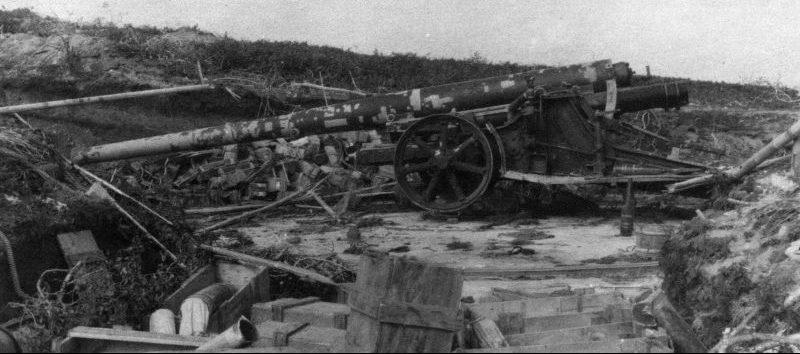 Крепостное 150-мм орудие, захваченное на острове Шумшу. Август 1945 г.