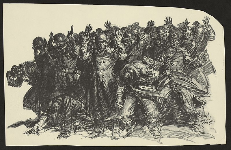 Картина, изображающая бойню, нарисованная в 1945 году художником армии США Говардом Броди по рассказам выживших.