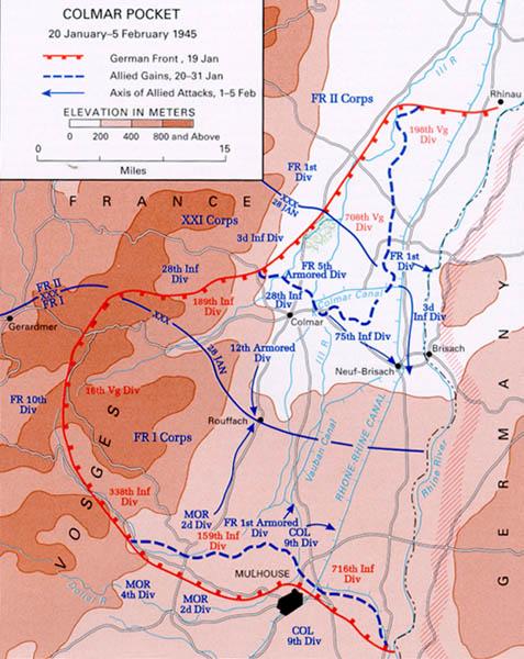 Карта-схема Кольмарськой операции.