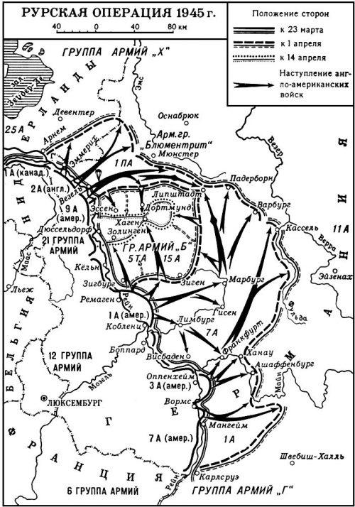 Карта-схема Рурской операции.