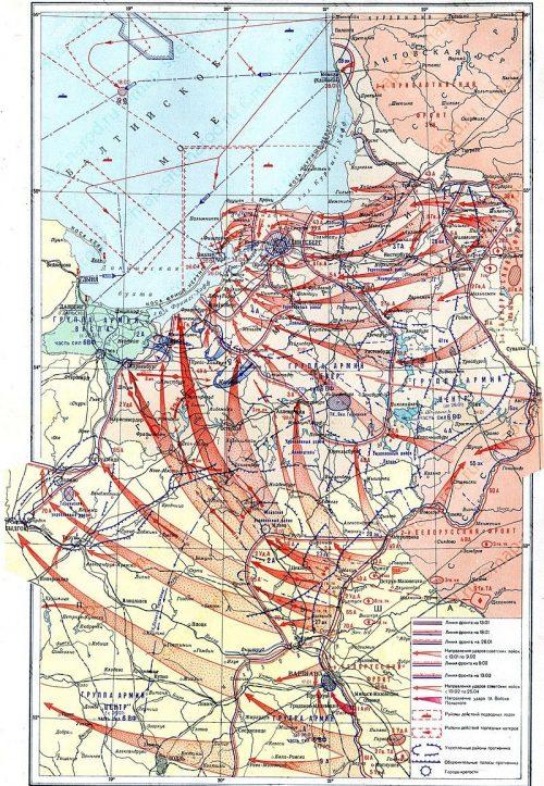 Карта-схема Восточно-Прусской операции.