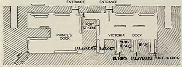 План доков с указанием положения кораблей до взрыва