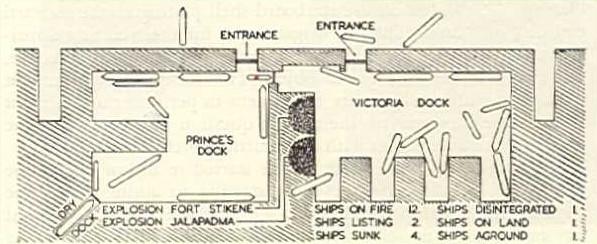 Положение кораблей после взрывов.