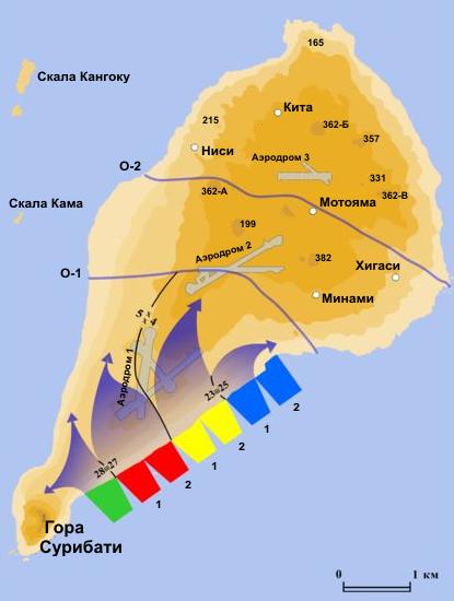 План-схема высадки американских сил на Иводзиму.