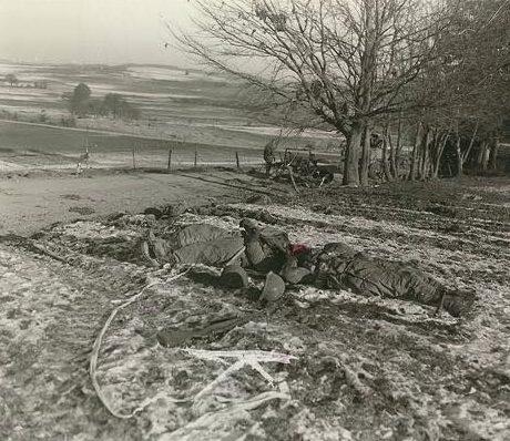 Погибшие американские солдаты недалеко от Шоммона. Декабрь 1944 г.