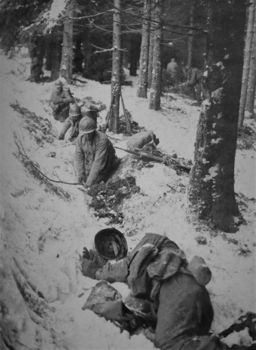 Американские солдаты оборудуют позицию в лесу в районе Ла-Рош-ан-Арден. Декабрь 1944 г.