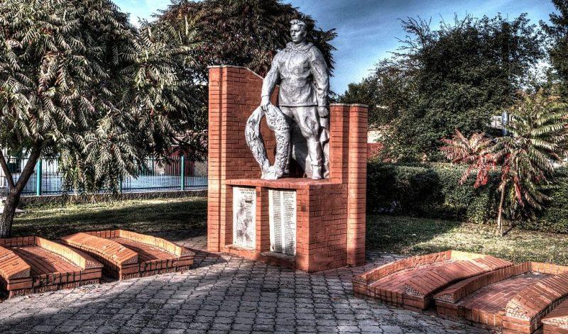 г. Бурынь. Памятник, установленный на братской могиле, в которой похоронено 119 советских воинов, в т.ч. 58 неизвестных.