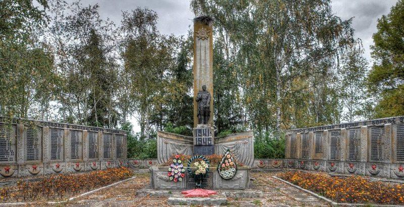 с. Гвинтовое Бурынского р-на. Памятник, установленный на братской могиле советских воинов, погибших в боях за село и памятный знак погибшим землякам.