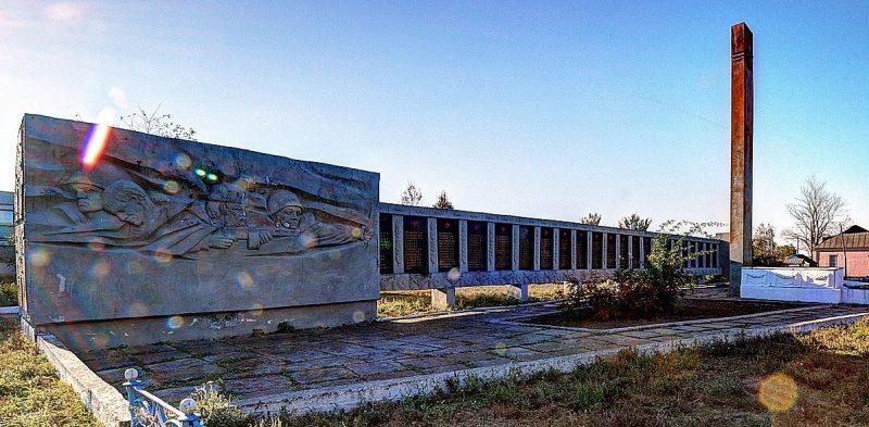 с. Дьяковка Бурынского р-на. Памятник, установленный на братской могиле советских воинов и погибших земляков.