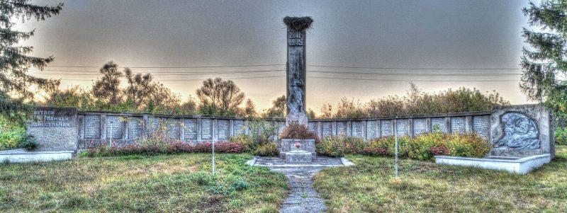 с. Пески Бурынского р-на. Памятник, установленный на братской могиле советских воинов и памятный знак погибшим землякам.