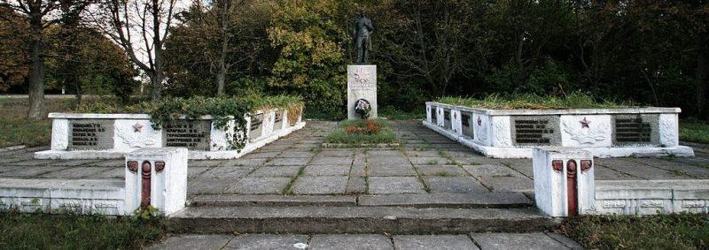 с. Слобода Бурынского р-на. Памятник у группы братских могил советских воинов.