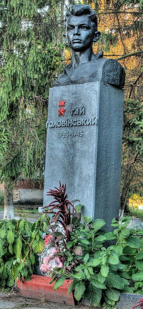 с Успенка Бурынского р-на. Памятник Герою Советского Союза П. Г. Головенскому во дворе школы.